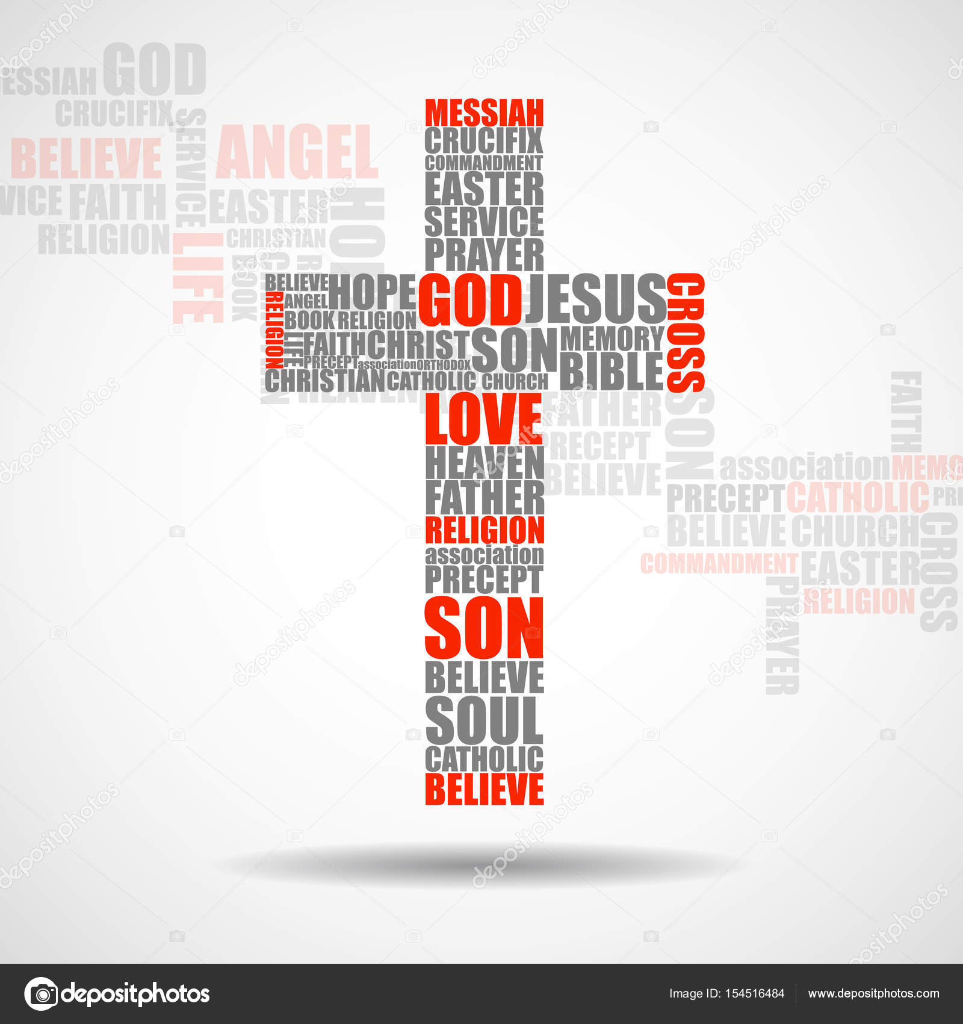 Cruz de palavras religiosas christian symbol vector vetores de christian symbol vector vetores de stock fandeluxe Image collections