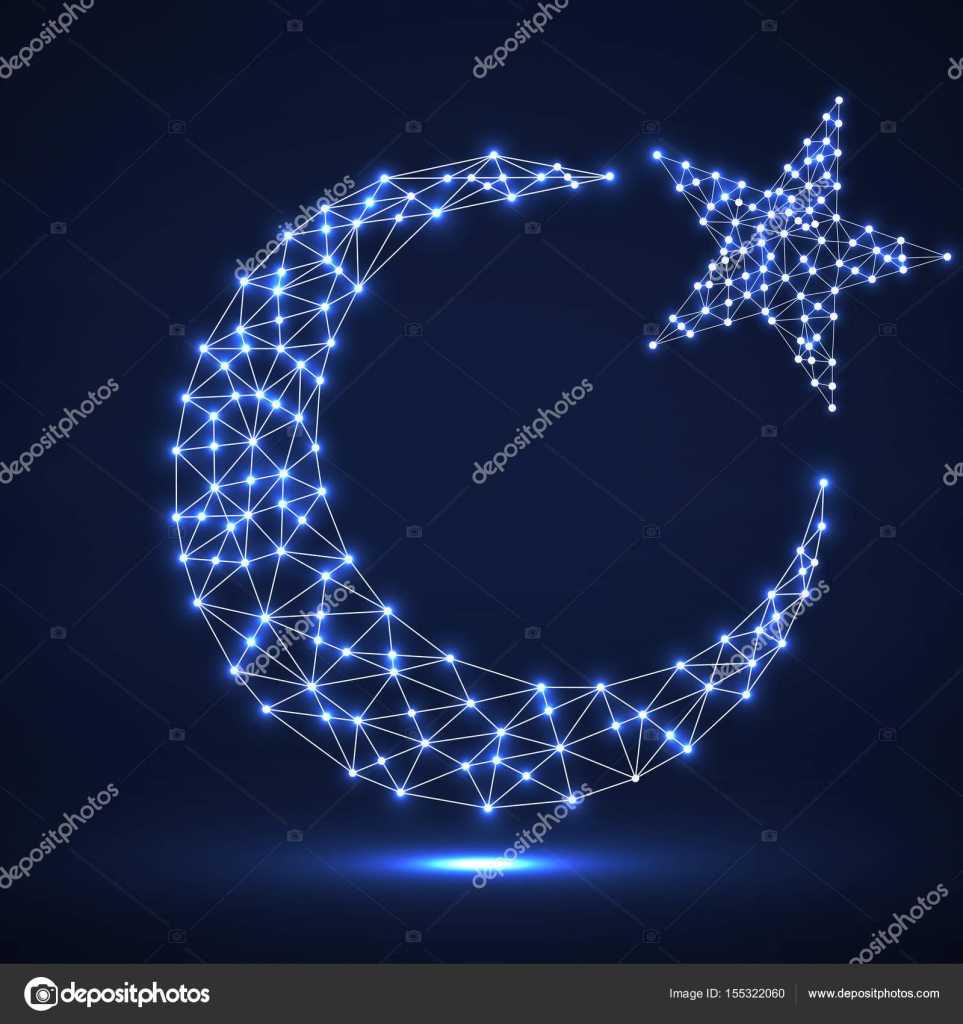 Abstract crescent moon and star from glowing polygonal lines and abstract crescent moon and star from glowing polygonal lines and dots religion symbol vector biocorpaavc Gallery