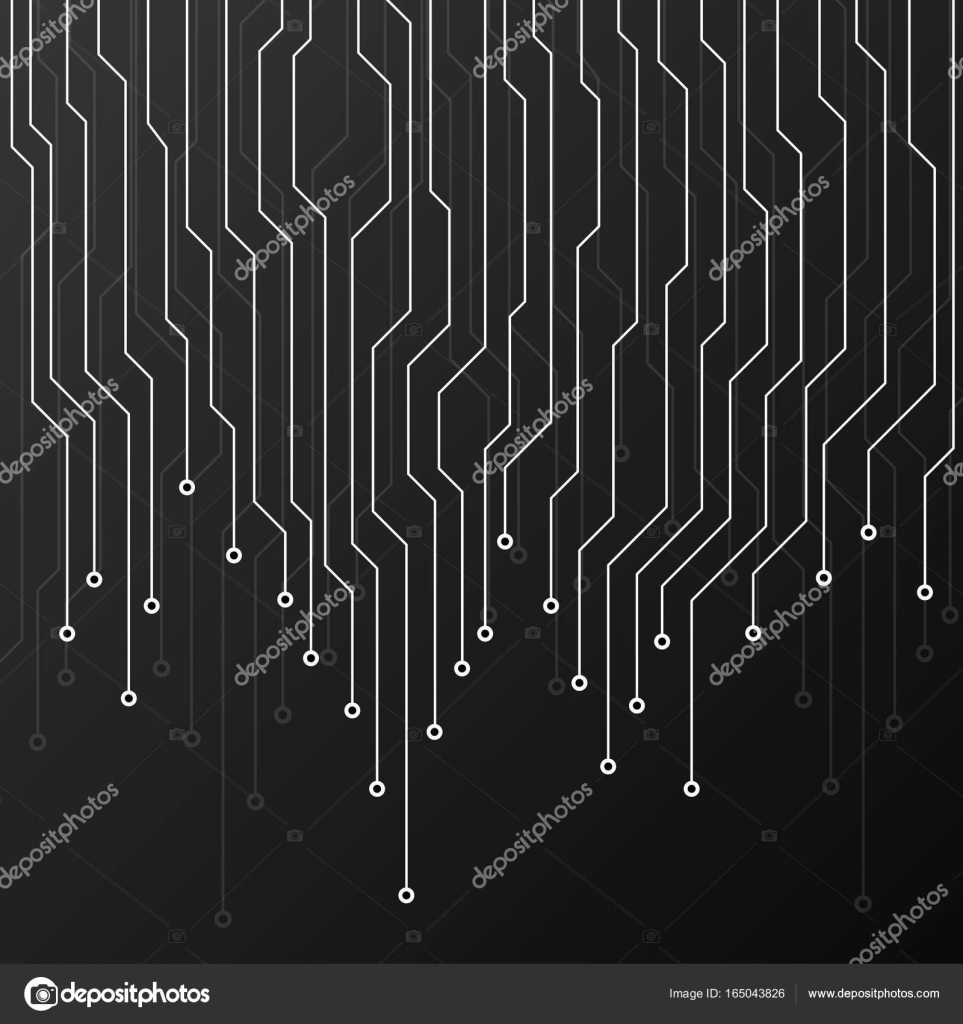 Black Circuit Board Green On A Background Stock Abstract Graphic Depicting Printed Technology