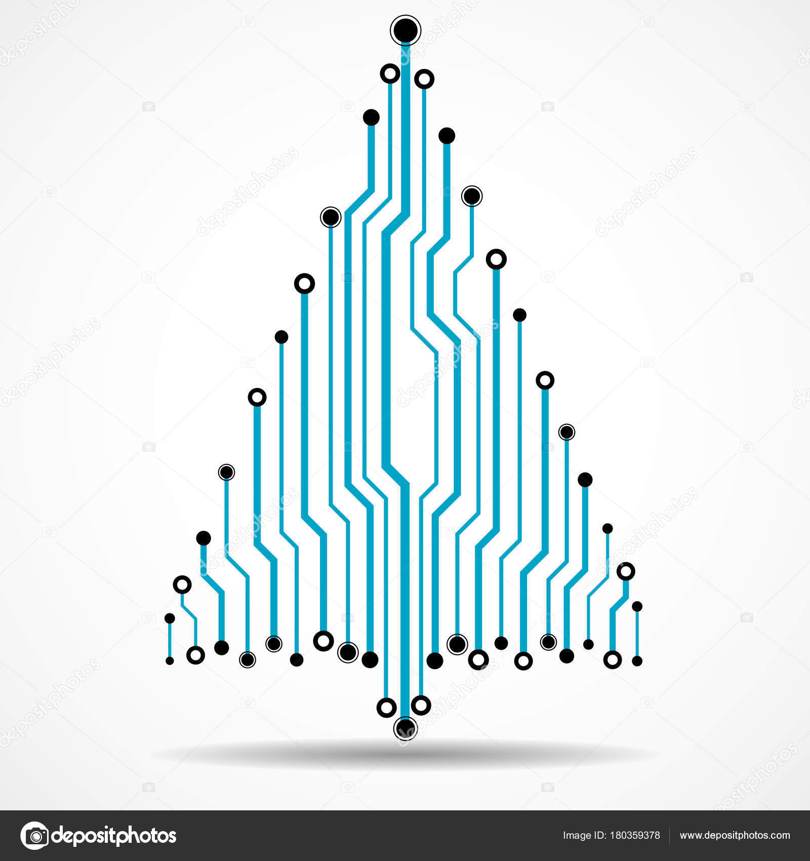 Circuit Board With Christmas Tree Vector Vector Christmas Free