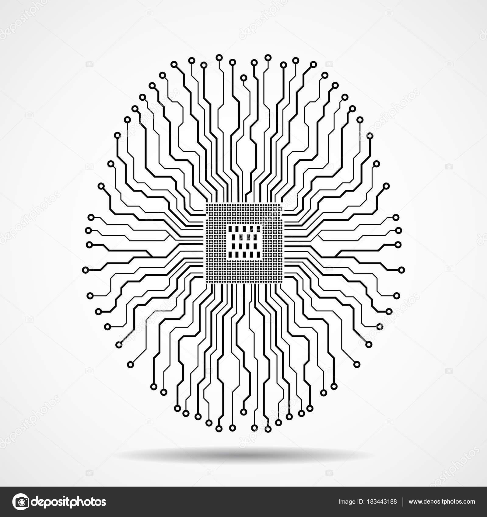 Cerveau technologique abstraite. Unité centrale de traitement ...