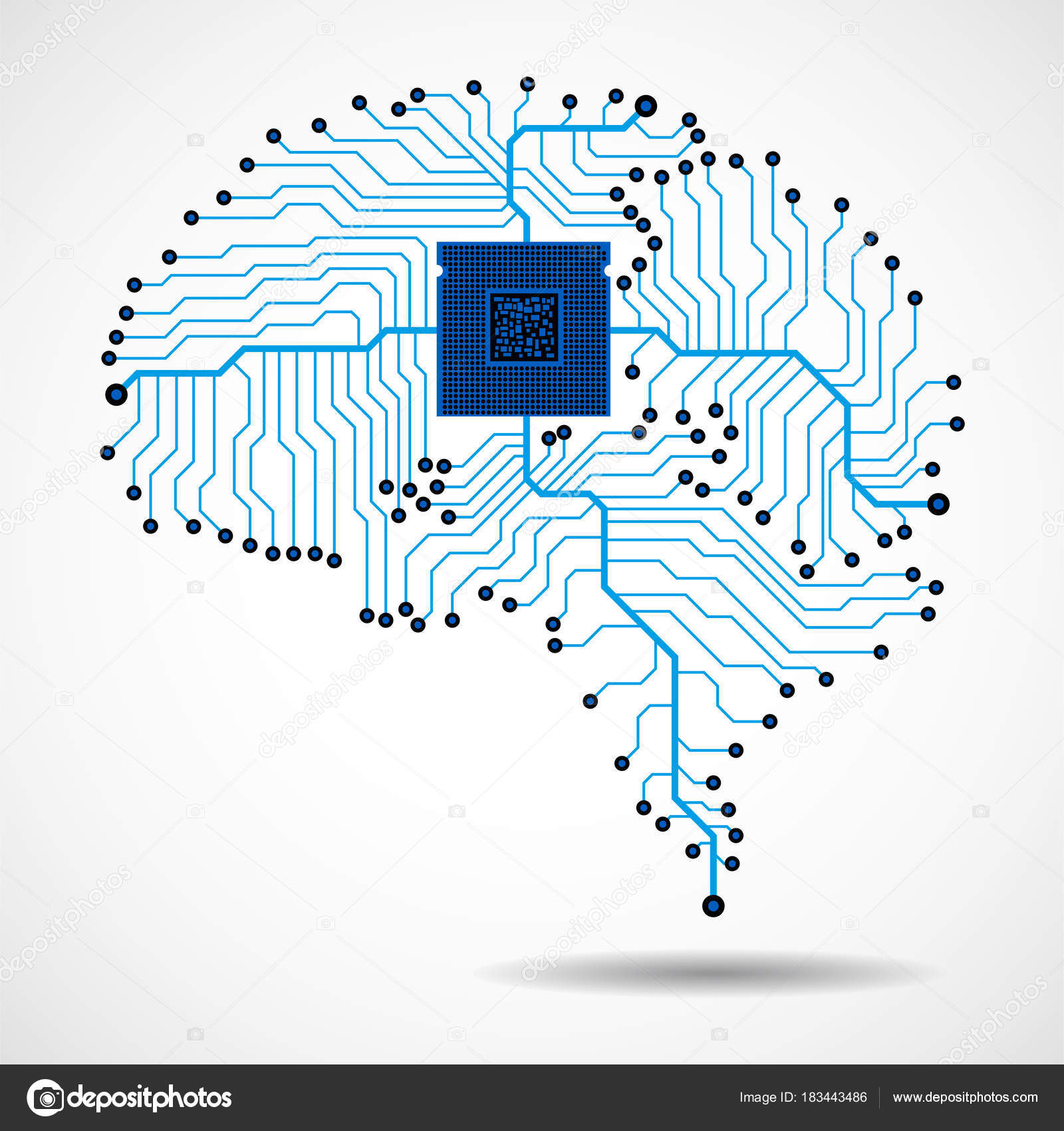 Circuit Brain Reusable : Abstract technological brain cpu circuit board vector