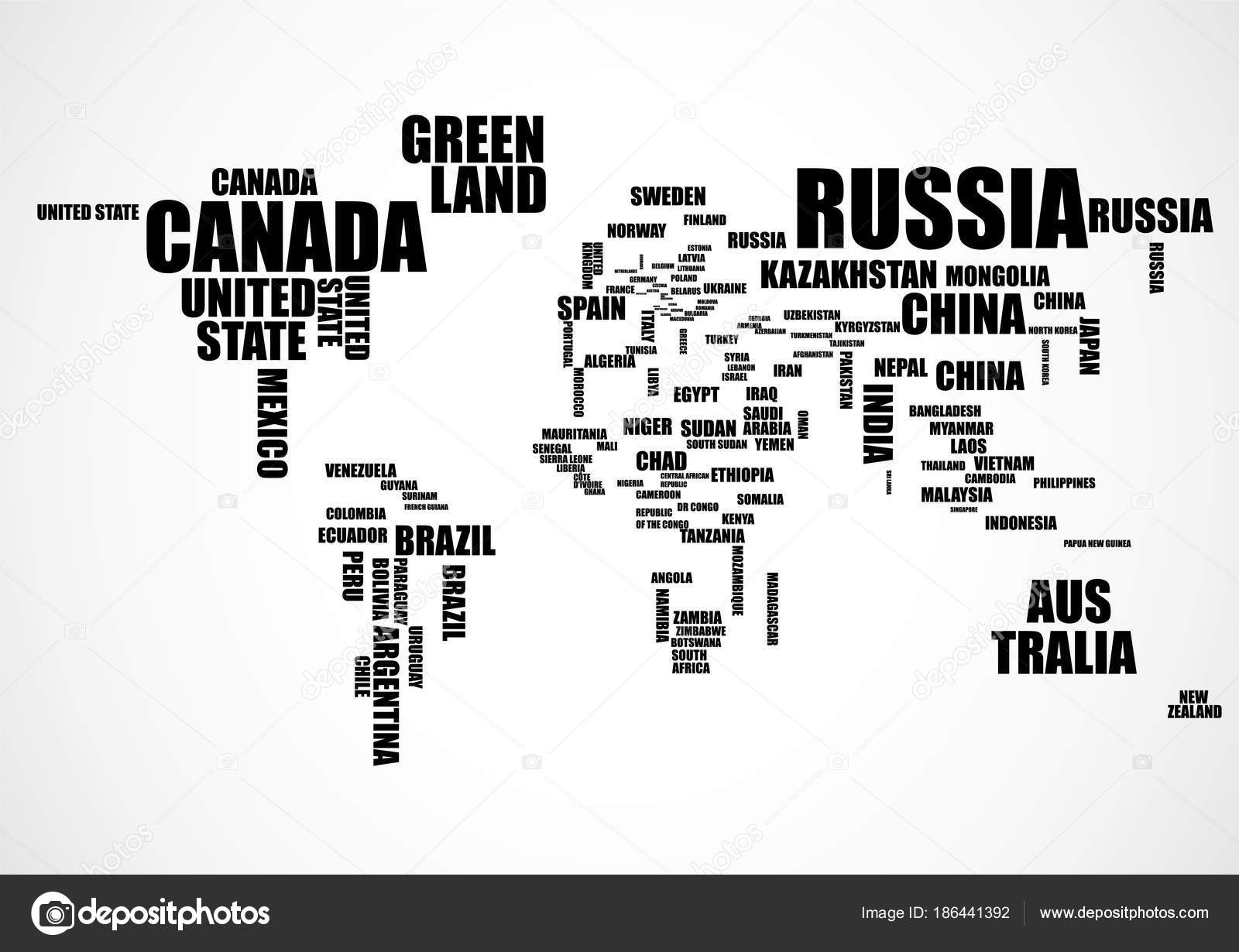 Typography world map with country names vector stock vector typography world map with country names vector stock vector gumiabroncs Images