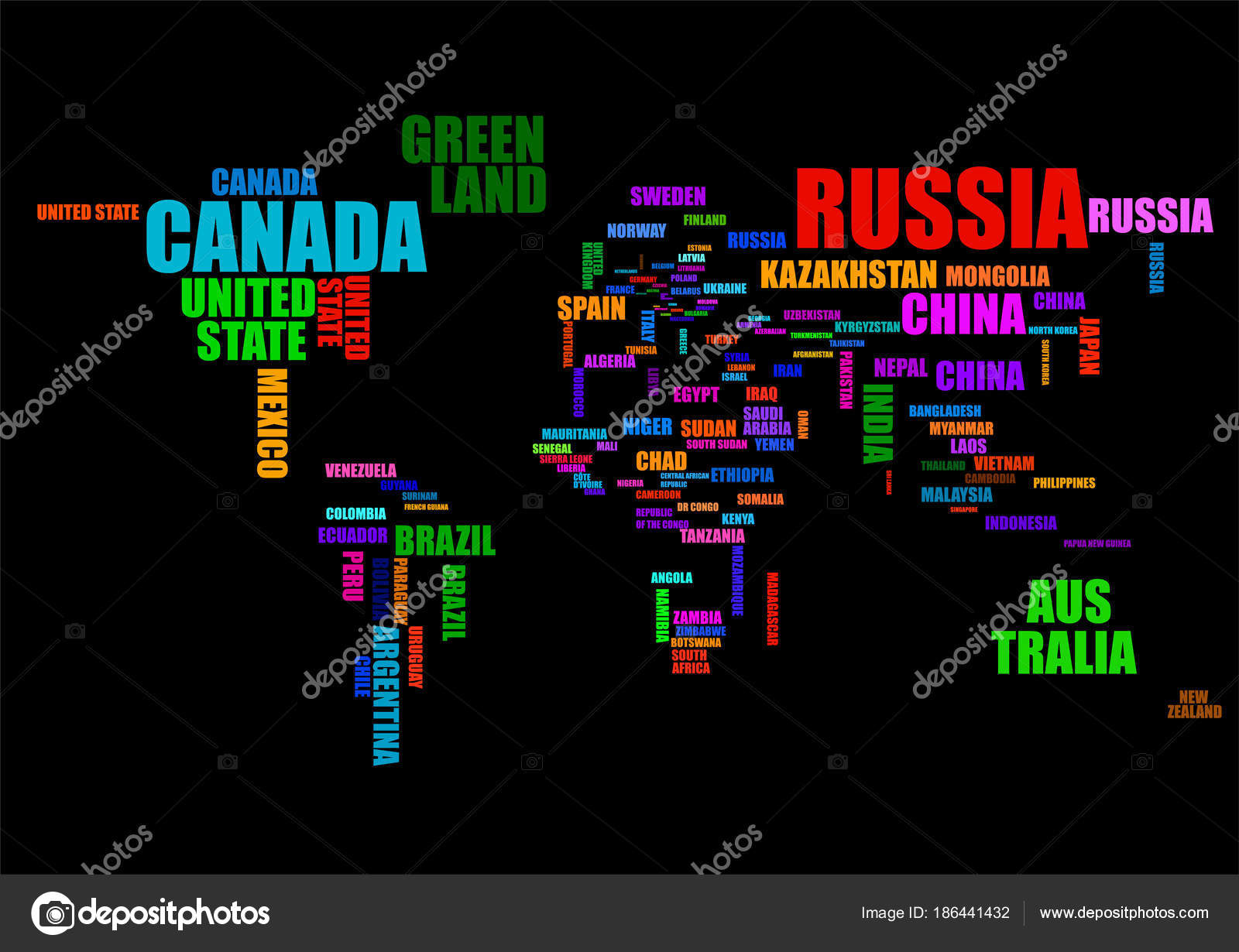 Typography colorful world map with country names vector stock typography colorful world map with country names vector stock vector gumiabroncs Image collections