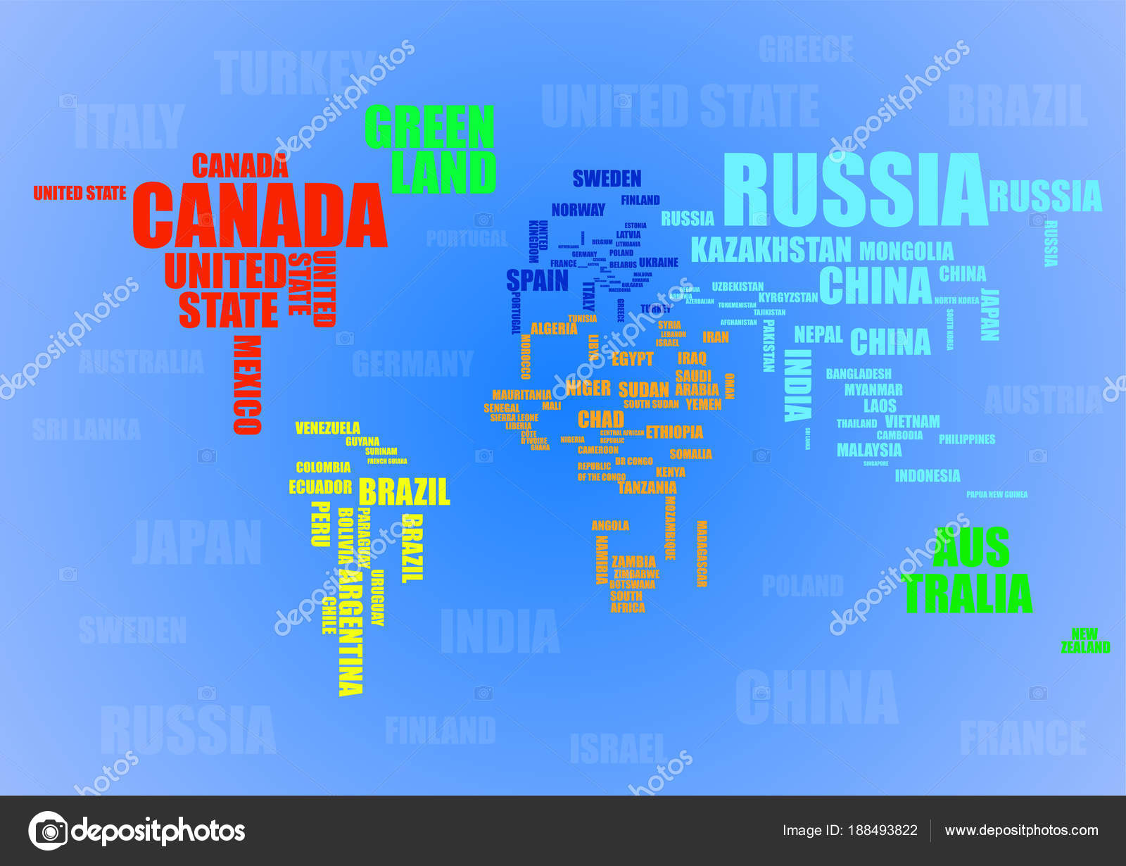 Typography colorful world map with country names vector stock typography colorful world map with country names vector stock vector gumiabroncs Gallery