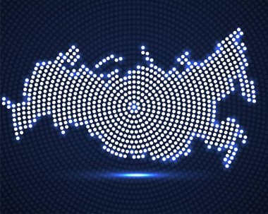Abstract Russia map of glowing radial dots, halftone concept. Vector