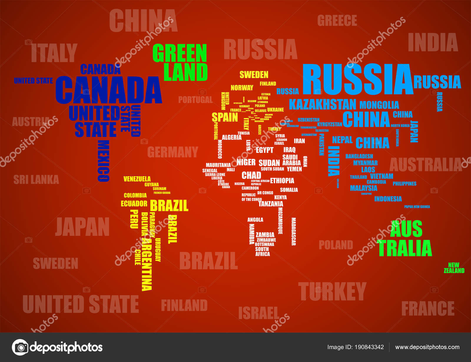 Typography colorful world map with country names stock vector typography colorful world map with country names stock vector gumiabroncs Image collections