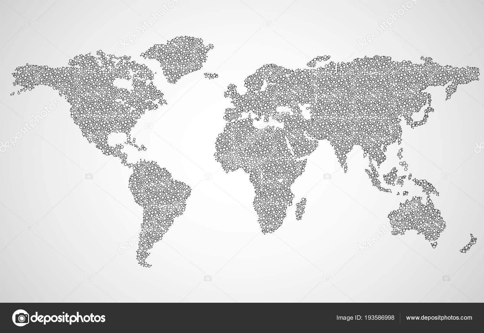 Abstract World Map Of Dots Vector Background Stock Vector