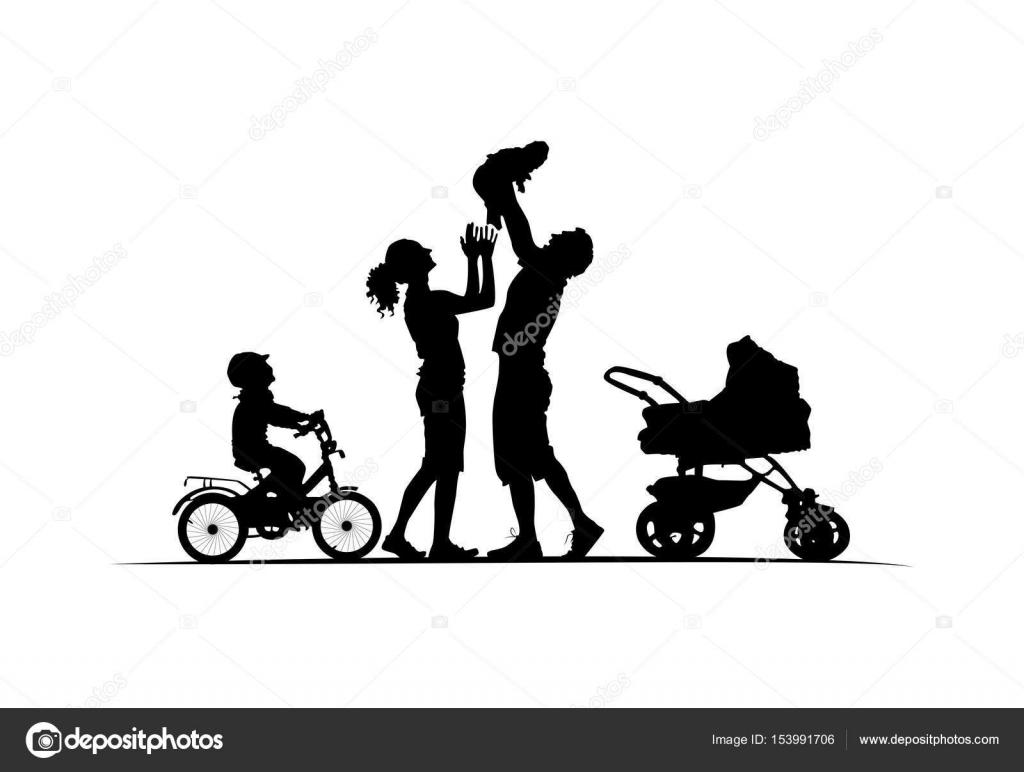 Silhueta De Família Com Berço Carrinho De Bebé E