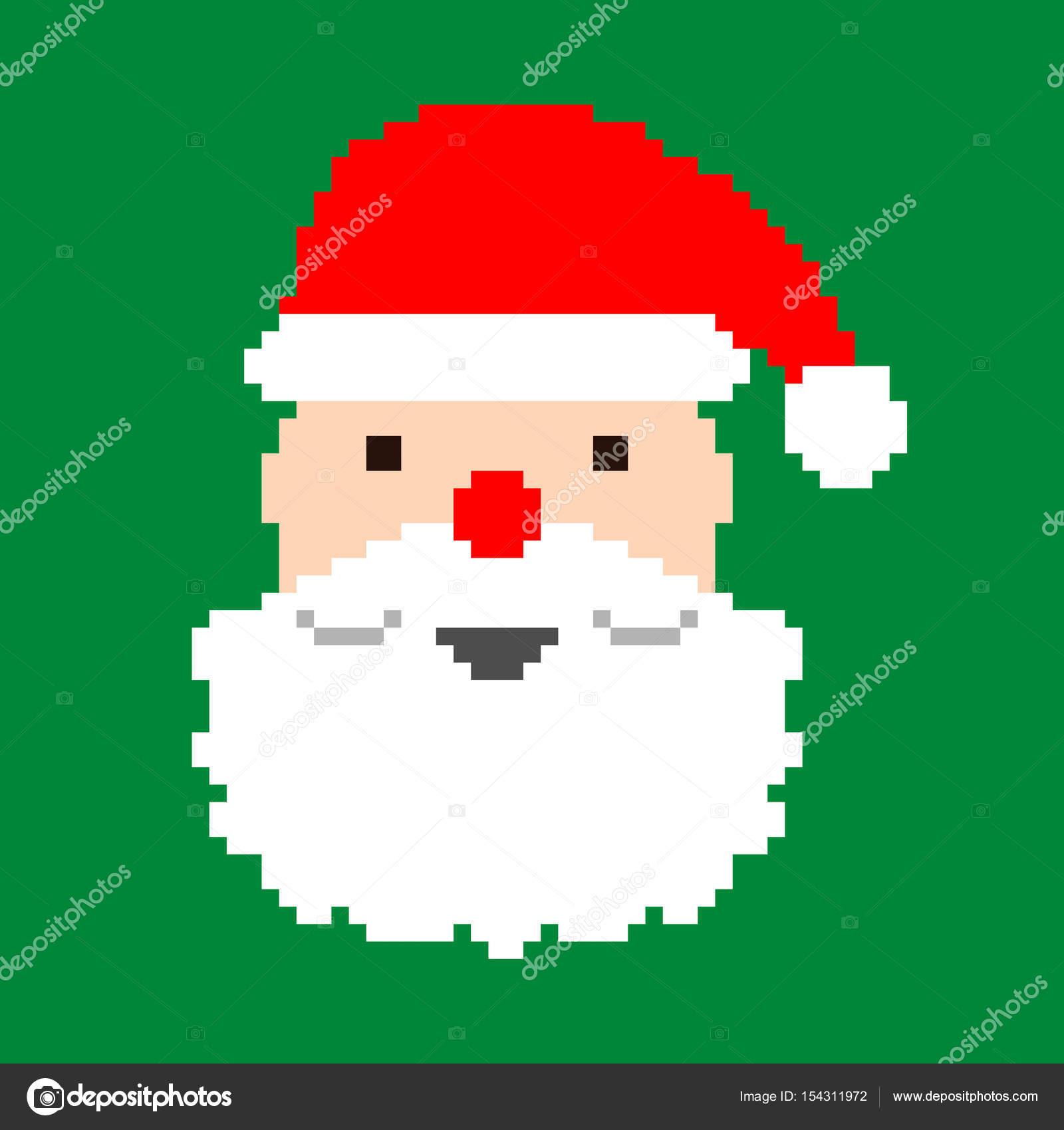 Tête Pixel Vectoriel Du Père Noël Image Vectorielle