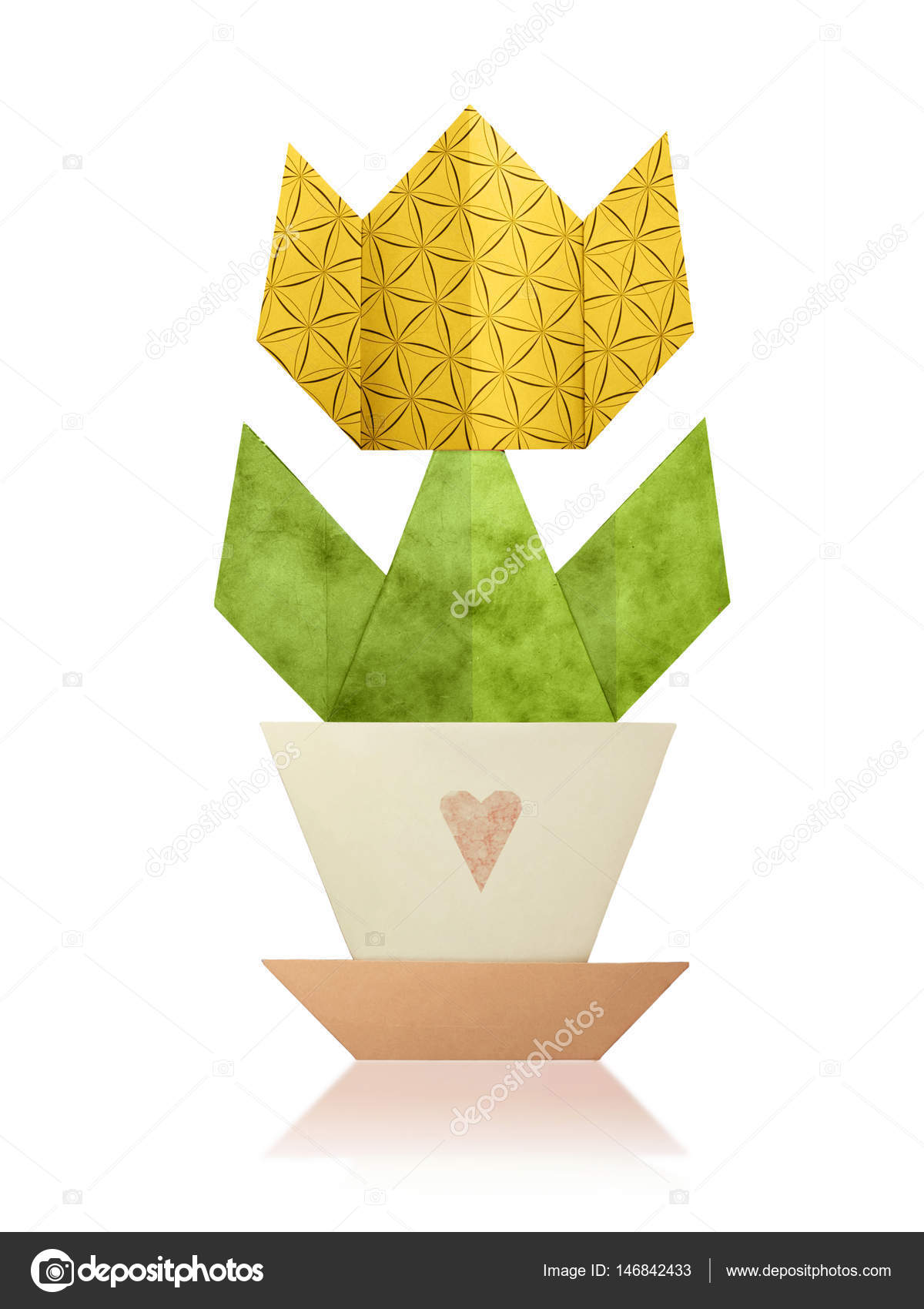 Origami tulip in a pot stock photo mandrixta 146842433 origami paper tulip home flower in a pot on a white background photo by mandrixta jeuxipadfo Image collections