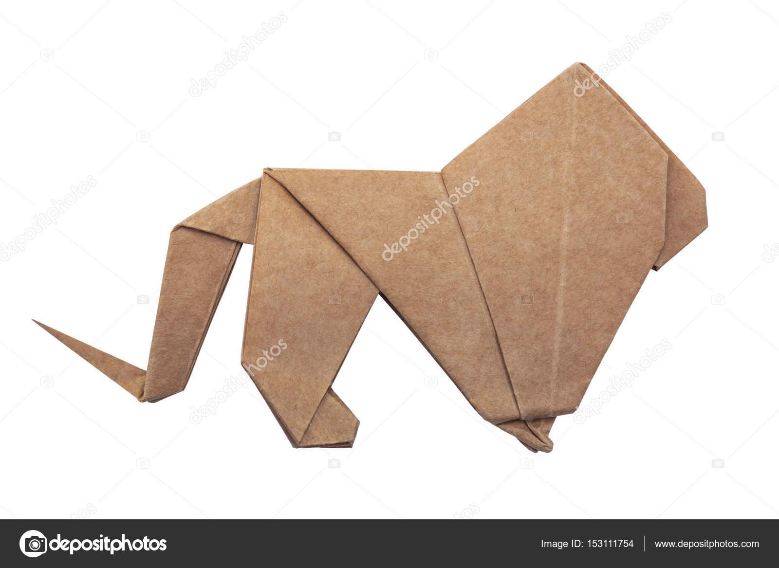 Origami Lion King Stock Photo