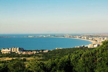 View on bay of Sunny beach resort, Nessebar, Bulgaria stock vector