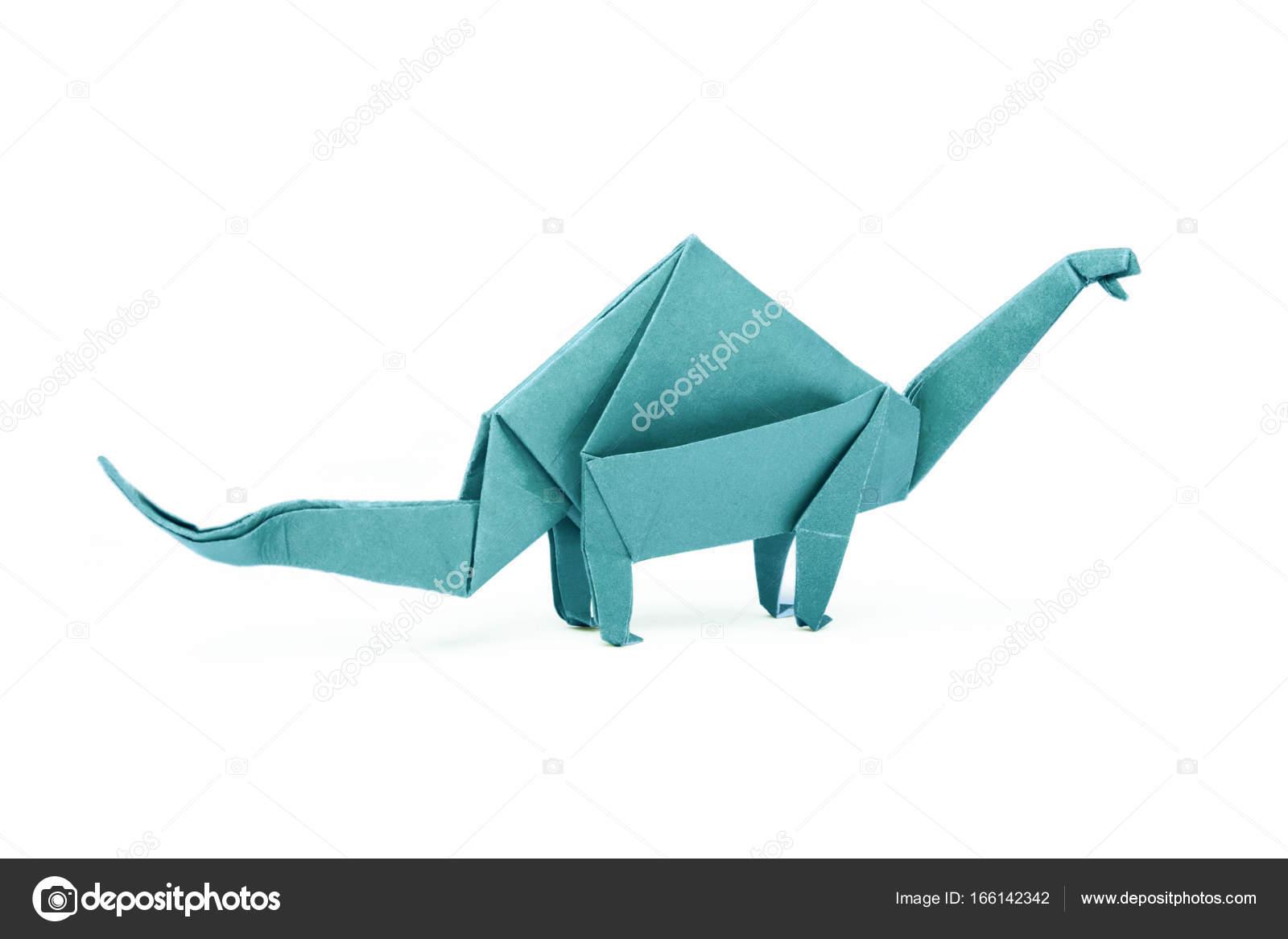 Brontosaurio de dinosaurio azul de papel origami aislado Fotos de