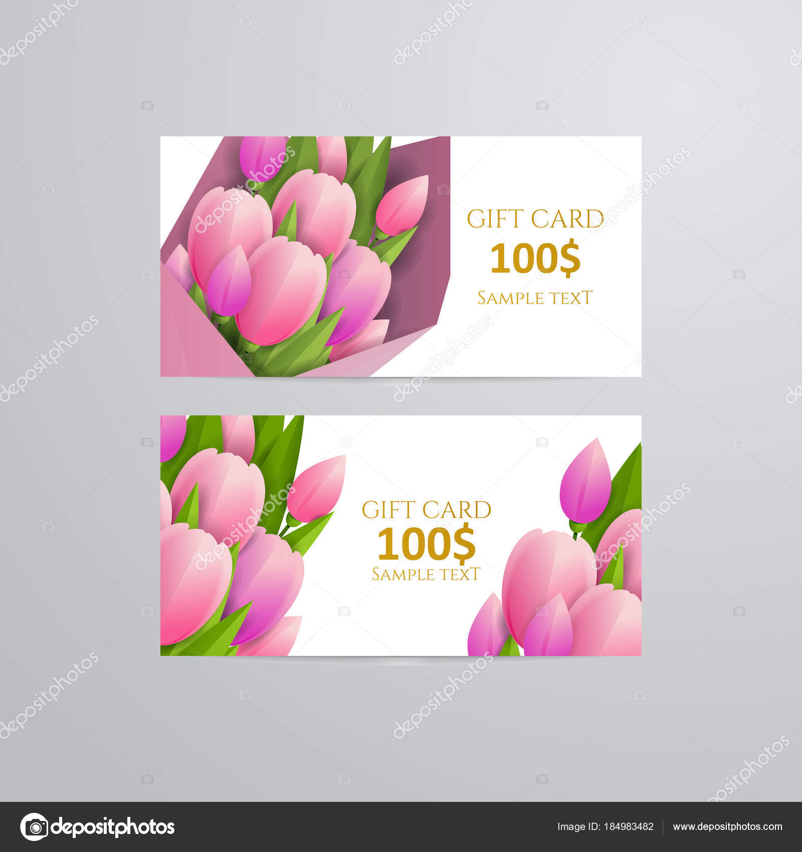 Vector Gift Voucher Template Tulip Flowers Business Floral Card