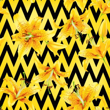 Background with yellow lily flowers. vector illustration