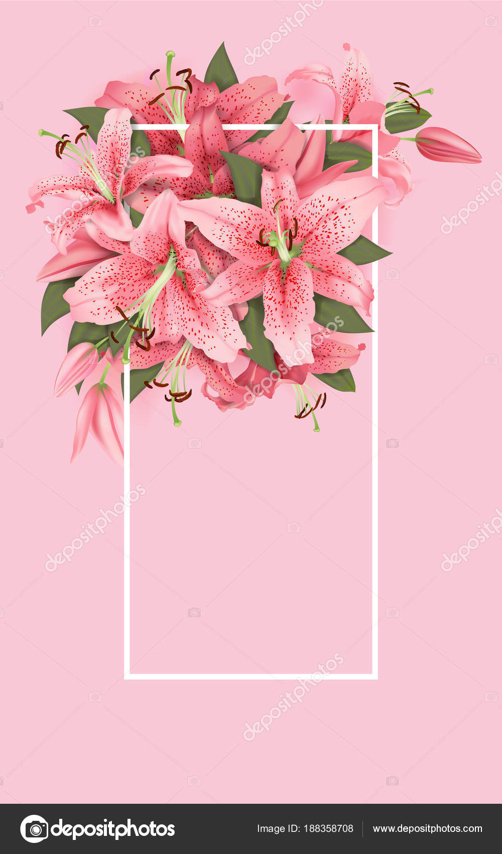 Wedding invitation lily flowers vector illustration vetor de stock wedding invitation lily flowers vector illustration vetor de stock stopboris Images