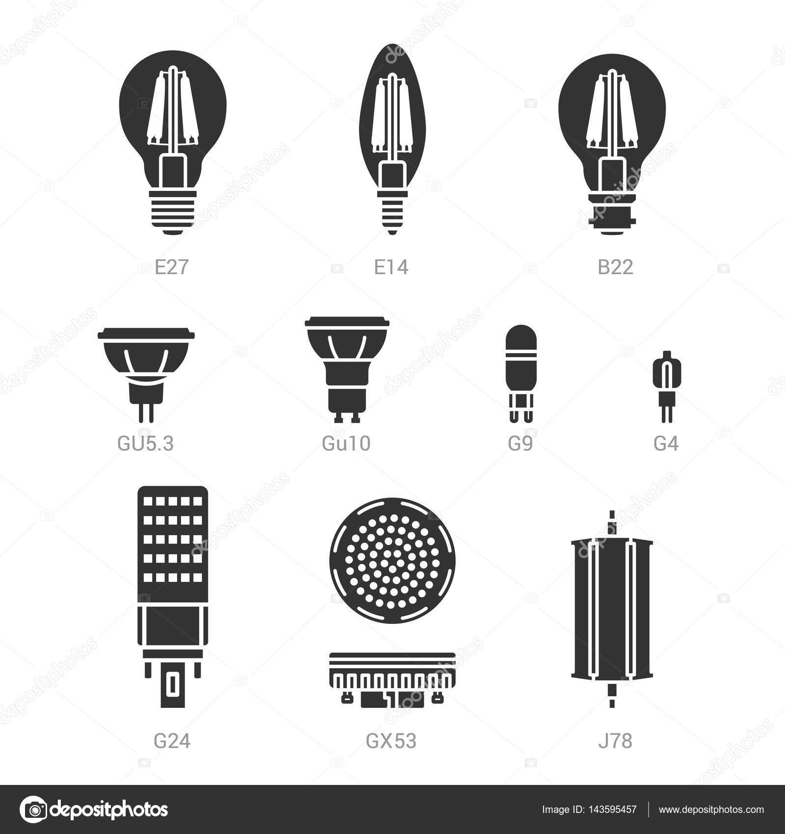 Lampe Led Ampoules Icon Set Vector Silhouette Image Vectorielle