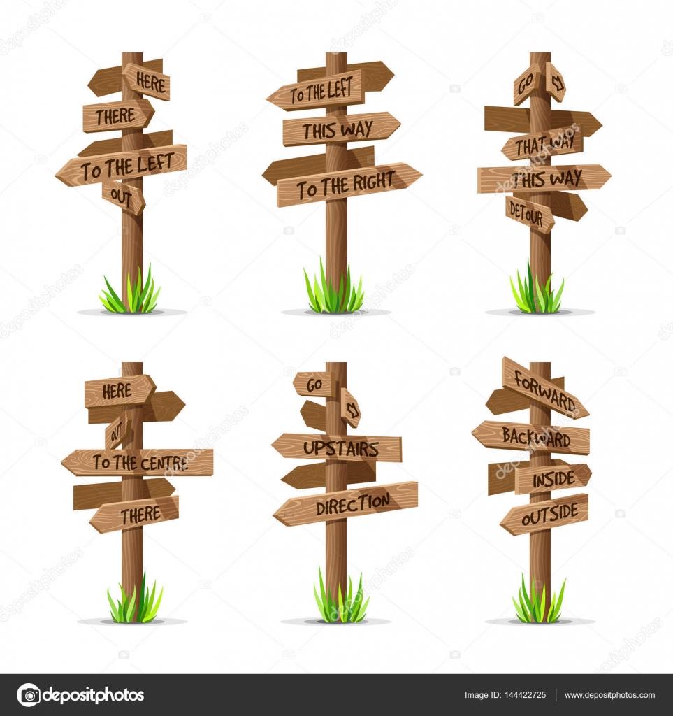 fl che en bois panneaux direction set vector image vectorielle primula kat 144422725. Black Bedroom Furniture Sets. Home Design Ideas