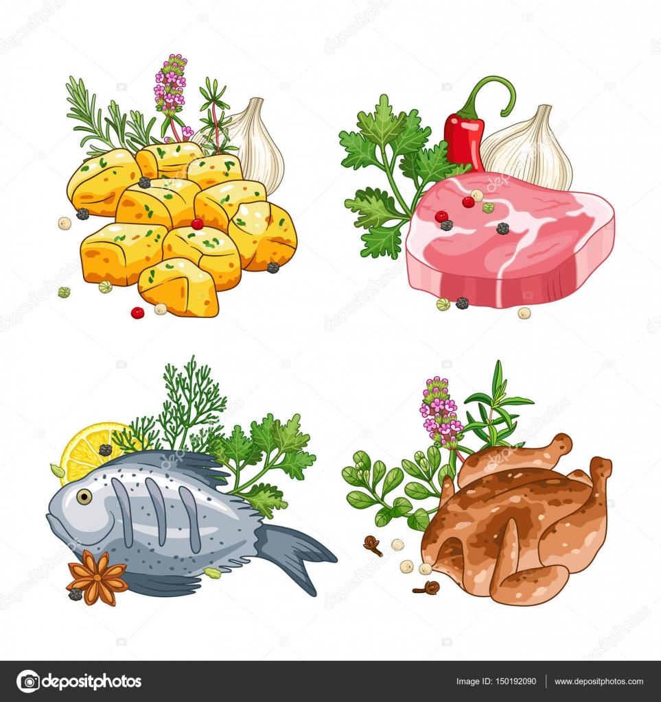 Dibujos Pollo Pescado Y Carne Vector Alimentos Y Comidas Con