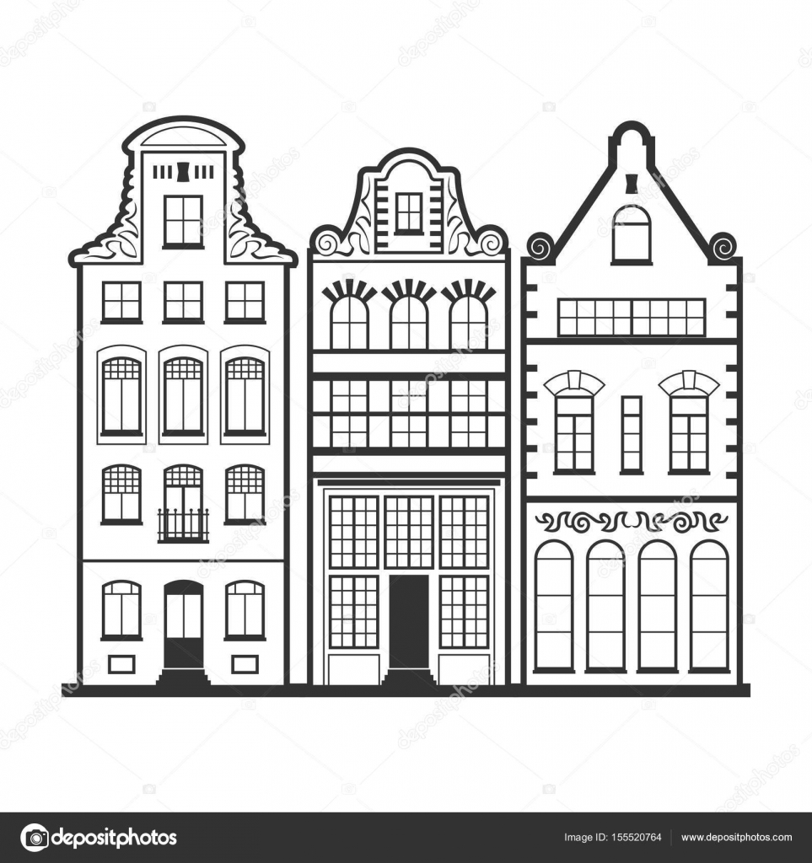 Set Van 3 Lijnstijl Amsterdam Oude Huizen Gevels