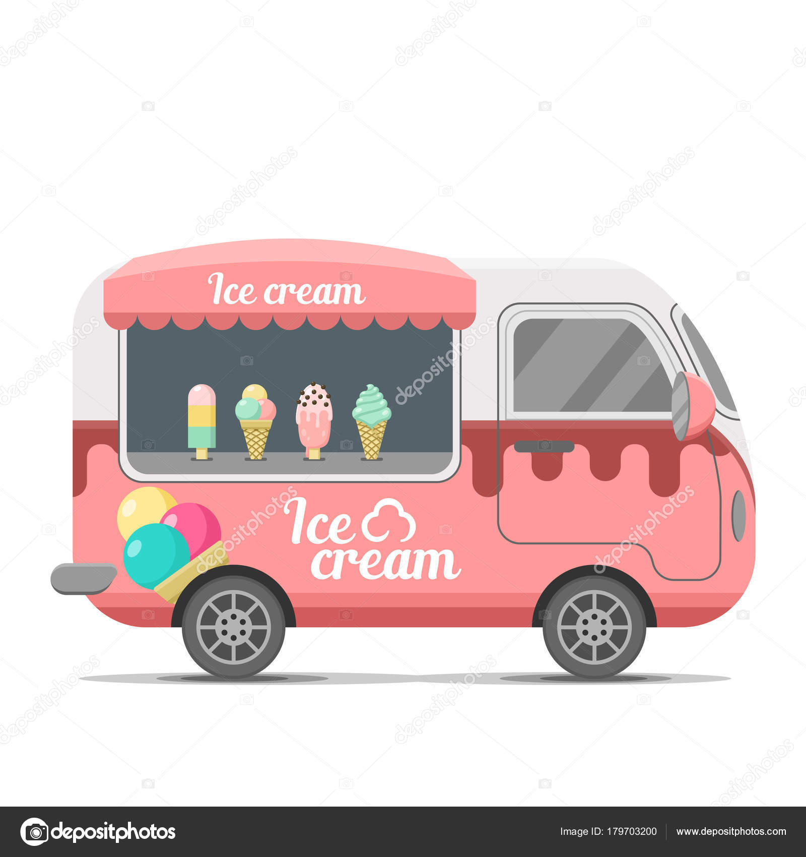 Helado comida callejera vector caravana remolque — Archivo Imágenes ...