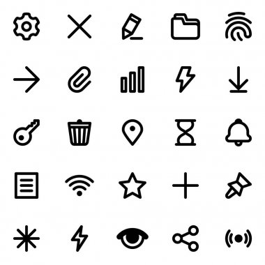 Simple web or mobile interface vector icons set. Isolated on white background icon