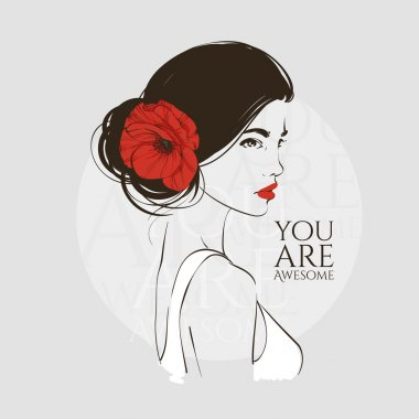 Portrait of young beautiful woman with red poppy in hair. Vector hand drawn illustration.