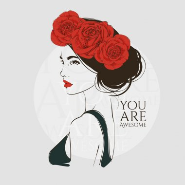 Portrait of young beautiful woman with red roses in hair. Vector hand drawn illustration.