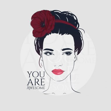 Beautiful woman with retro hairstyle beam and poppy, hand drawn line vector fashion illustration. clip art vector