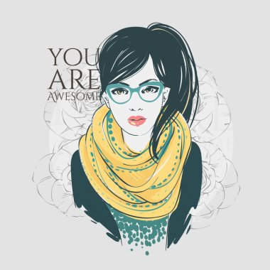 Beautiful hipster young women in a fashion jacket with scarf and glasses. Vector hand drawn illustration.