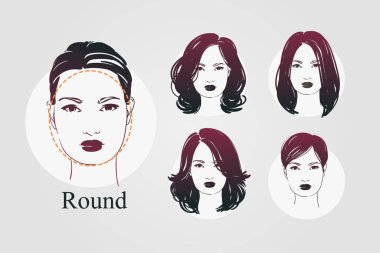 Vector set beautiful women icon portraits with differnt haircut and round type faces. Hand drawn illustration.
