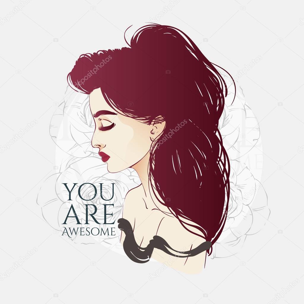 手描きの行ベクトル ファッション イラスト 長い髪の美しい女性