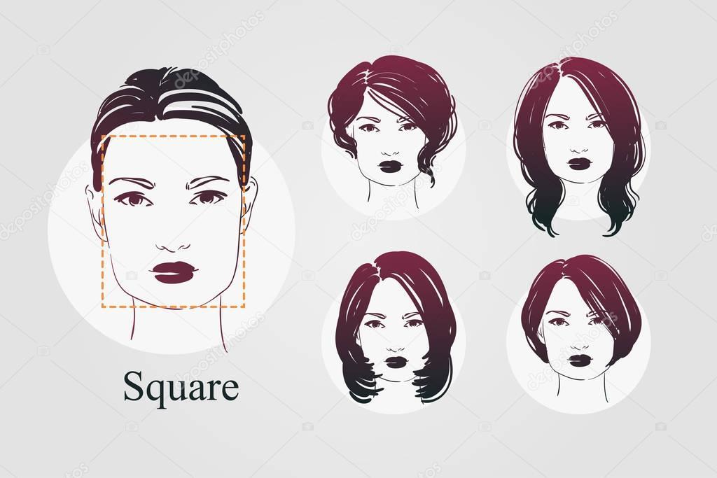 Wektor Zestaw Pięknych Kobiet Portrety Ikona Z Różne Fryzury