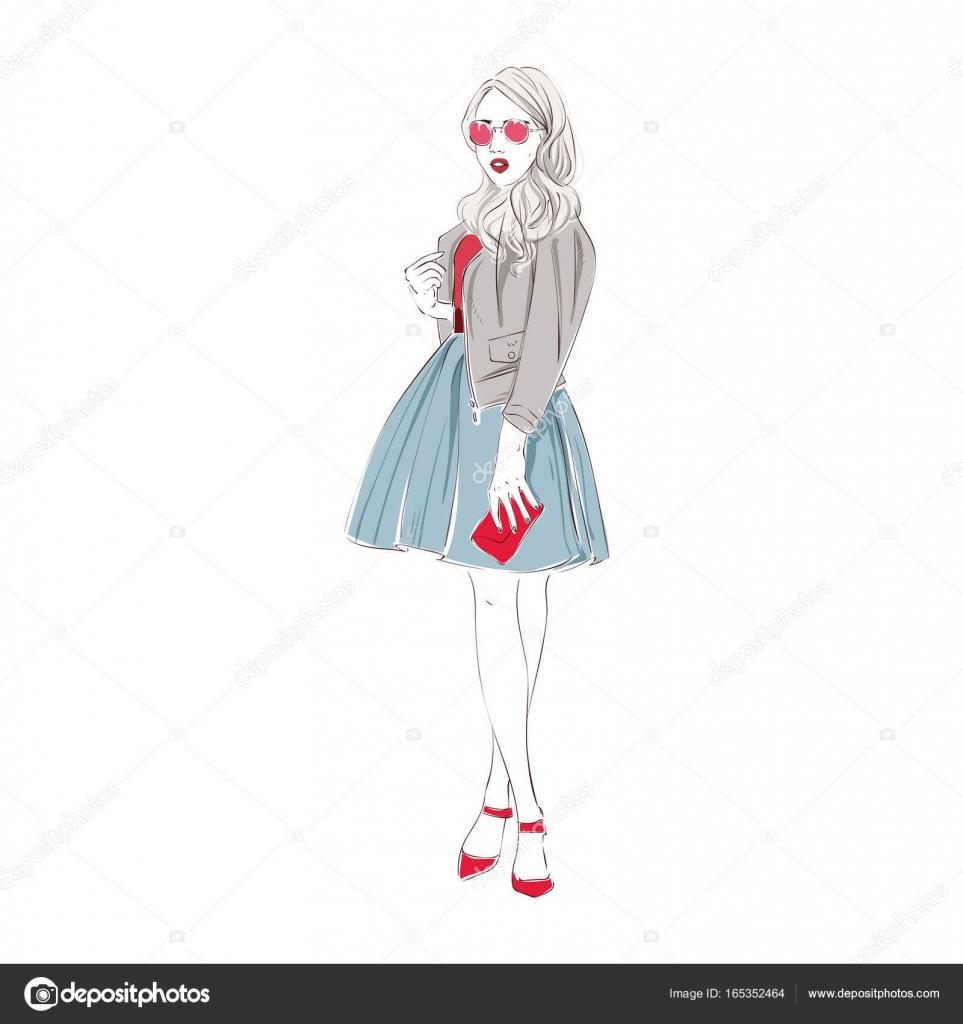 c8f8f6aa2b91f7 ファッション レトロ服、ミディ スカートで美しい若い女性は革バッグとジャケットとピンクのサングラスです。ベクトル手描き下ろしイラスト —  ベクターkusuha