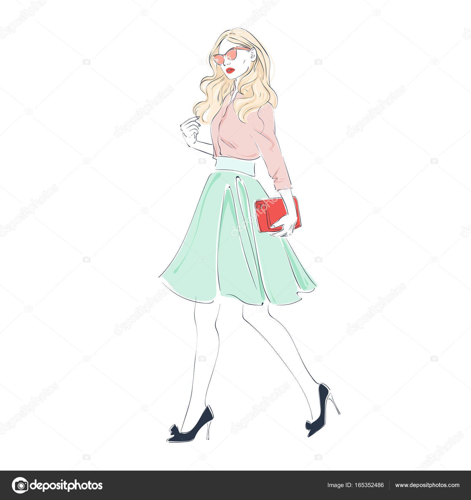 e76e7648a8c8c1 美しい若い女性ファッションのレトロな服、バッグと midi のスカートとピンクのサングラス。ベクトル手描き下ろしイラスト — ベクターkusuha