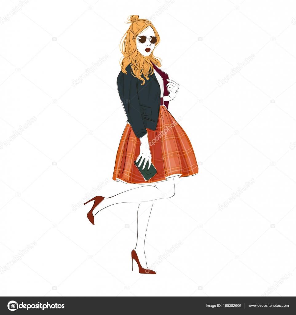 c413f976f54f52 美しい若い女性ファッション レトロ服、ミディ スカート、ハイヒールの革のジャケットとサングラス バッグします。ベクトル手描き下ろしイラスト. —  ベクターkusuha