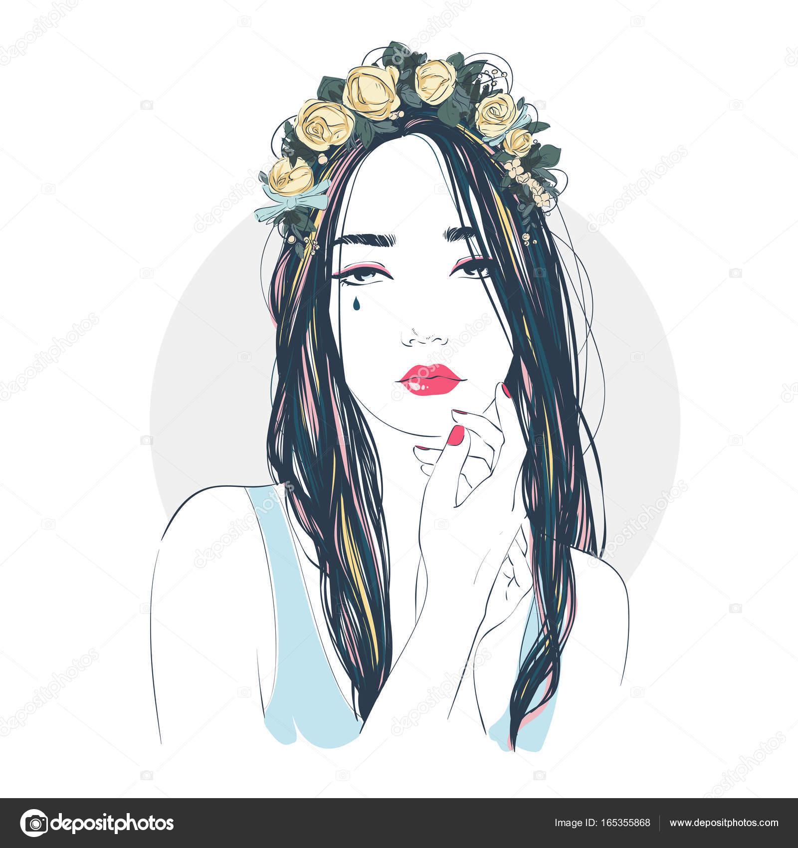 長い髪に花を持つ若い美しい女性の肖像画ベクトル手描き下ろしイラスト