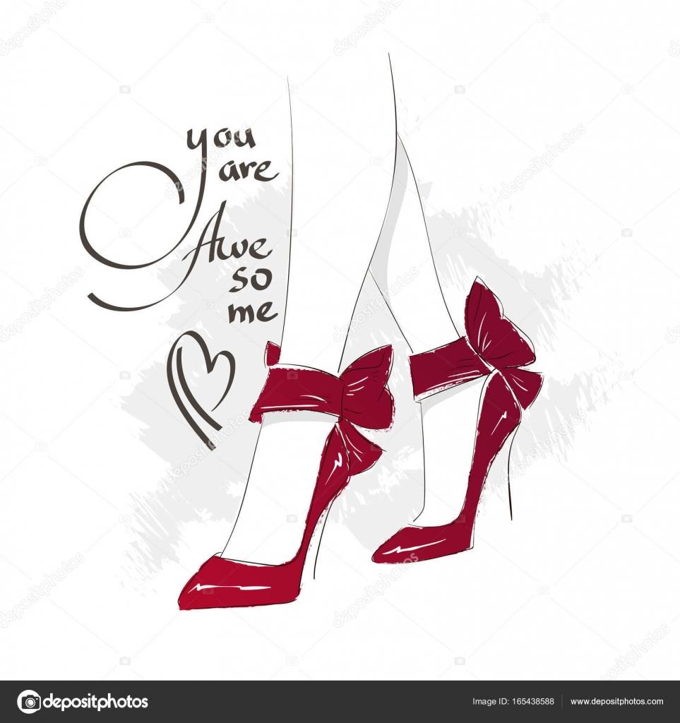 ハイヒールでベクトル少女。ファッション イラスト。靴で女性の足