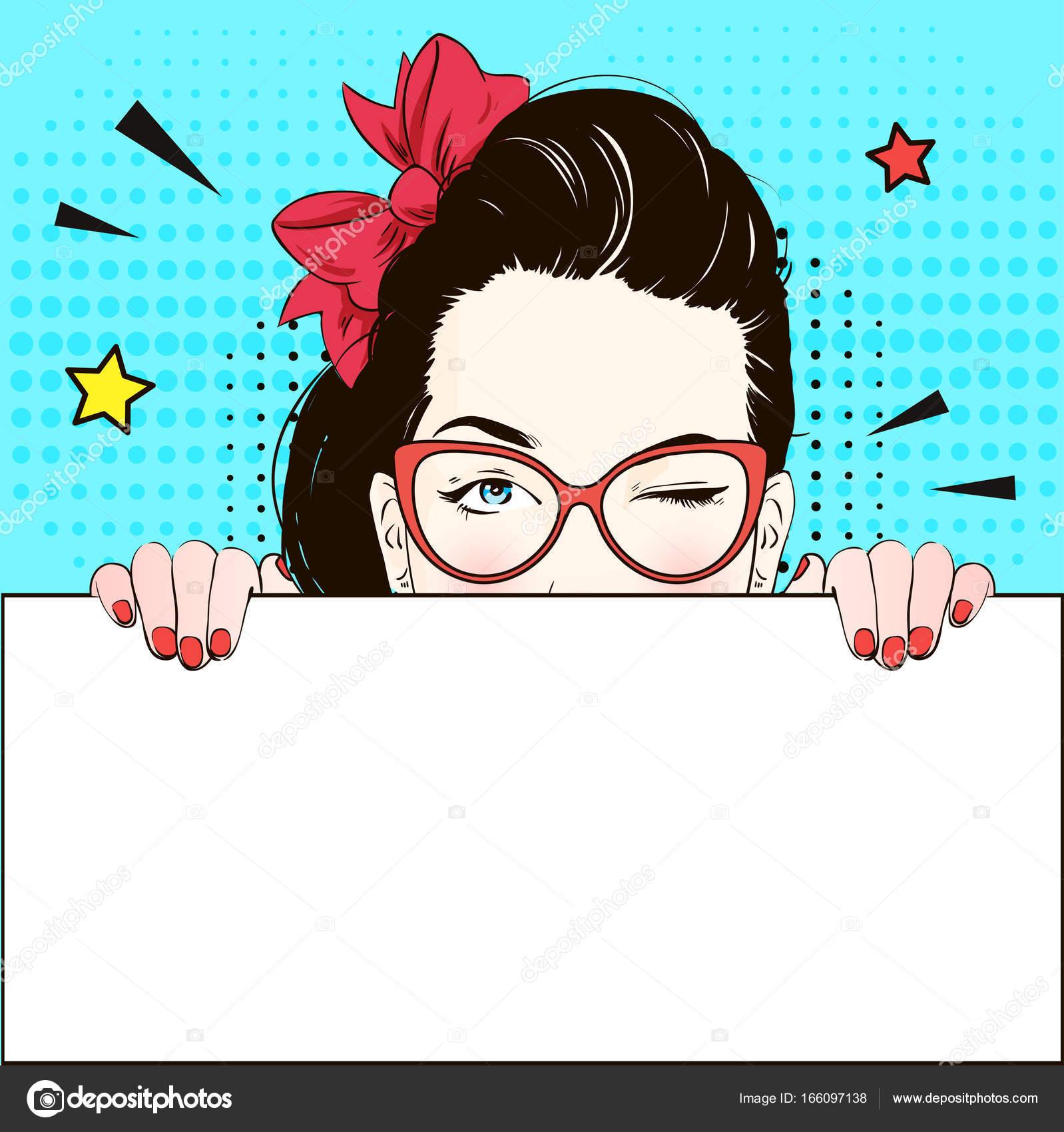pop art vintage werbung poster comic-girl in katze-ja brille