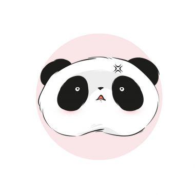 Boring cute panda face in cartoon style. Vector hand drawn illustration.