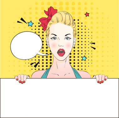 Pop Art Vintage advertising poster comic girl with speech bubble holds a white banner. Vector illustration