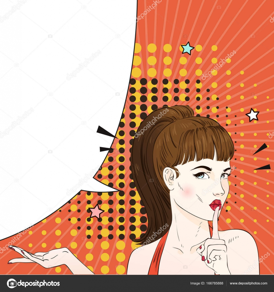 Pop Art Woman With Retro Hairstyle Ask For Silence Comic Woman With