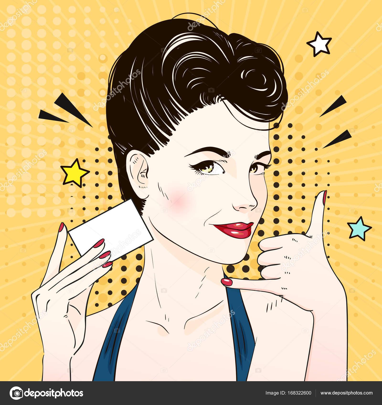 Visage De Femme Comique Pop Art Desire Pour Appeler Et Est Titulaire La Carte Visite Illustration Vectorielle Vecteur Par Kusuha