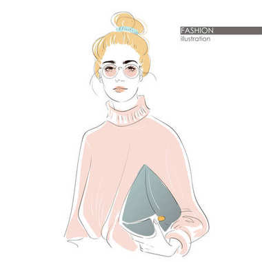 Girl with messy bun in round glasses. Hipster cute fashion girl in sketchy style. Vector hand drawn illustration.