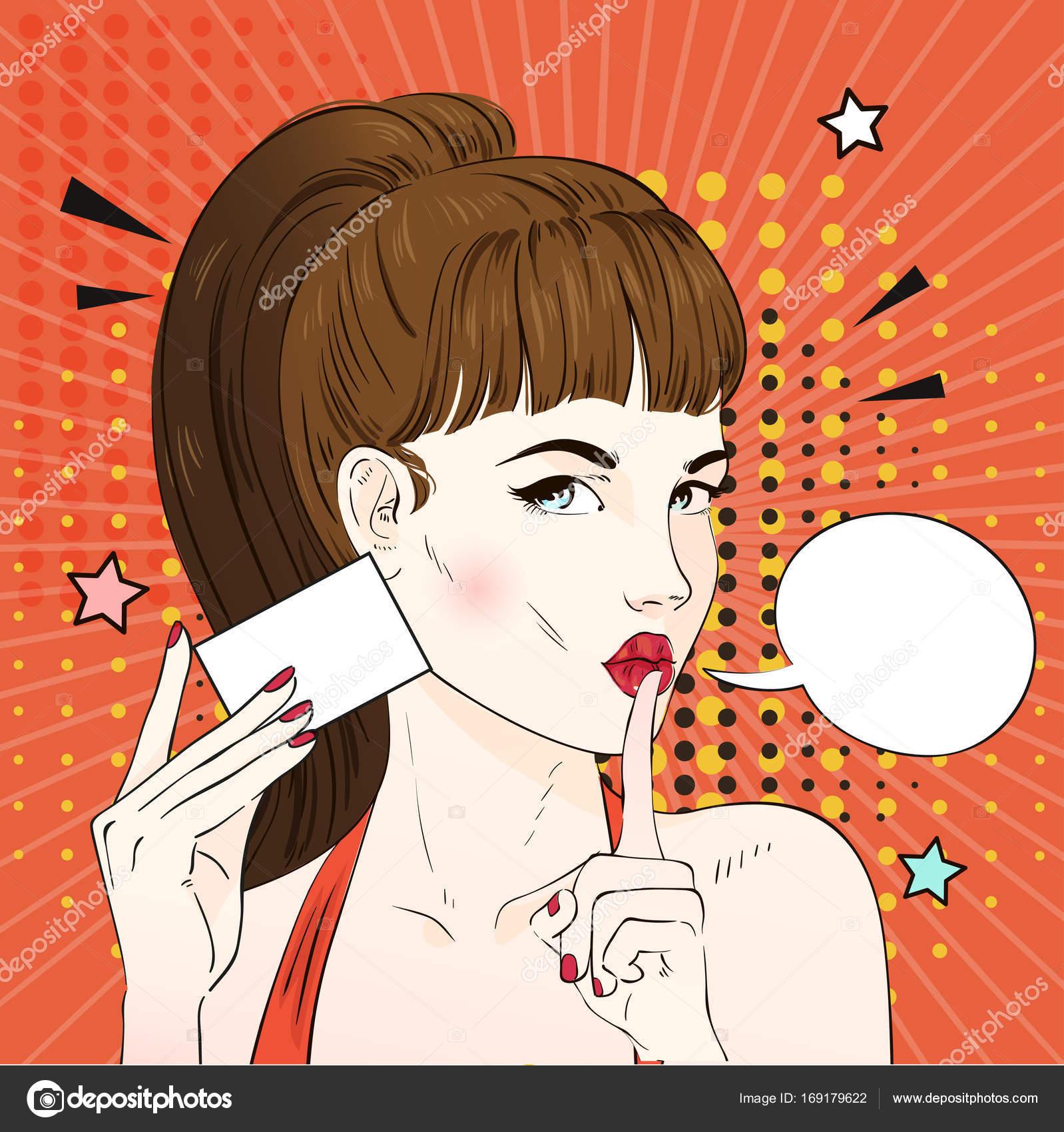 Pop Art Femme Avec Une Coiffure Retro Carte De Visite Comique Bulle Dialogue Illustration Vectorielle Stock