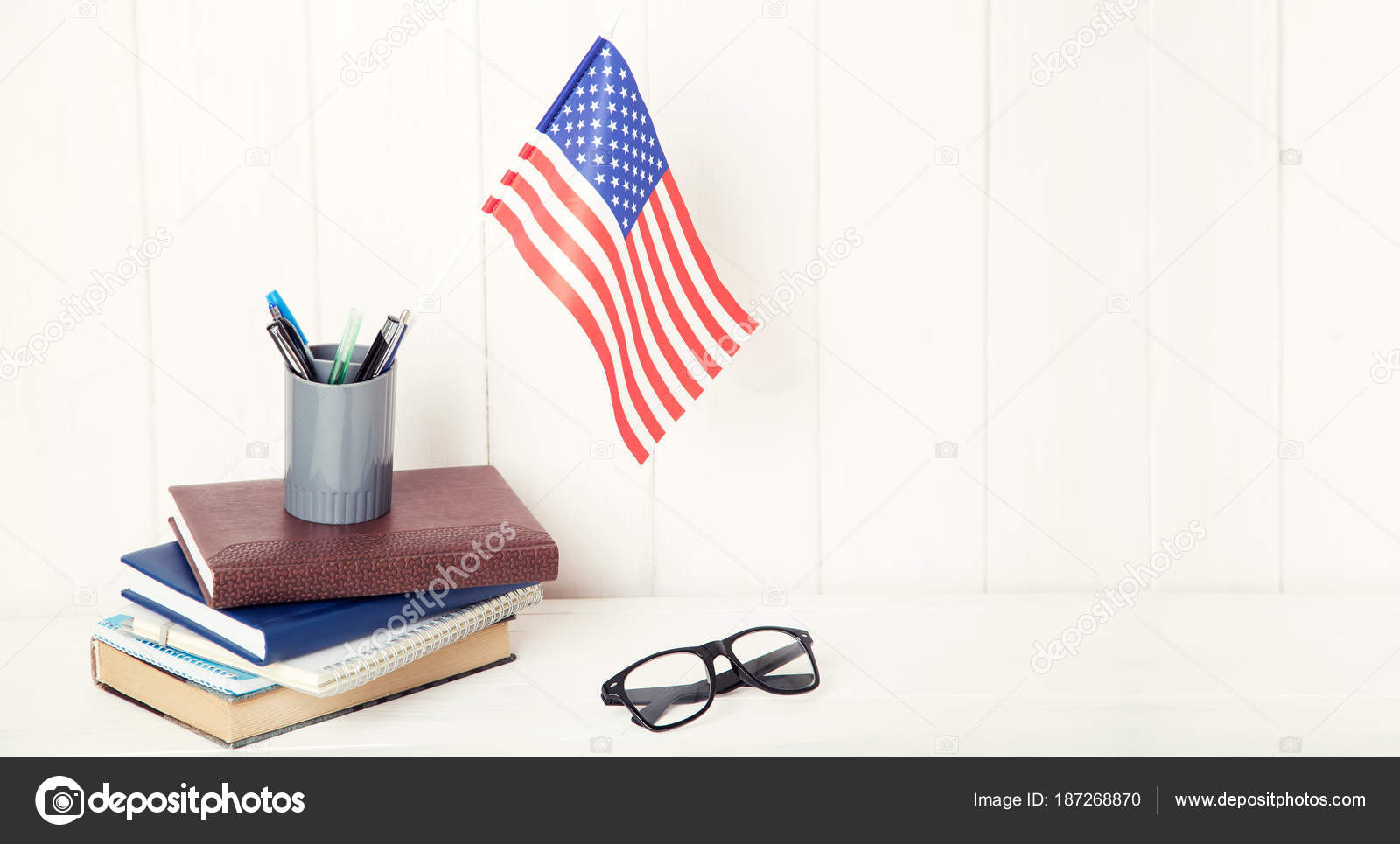 4ebd55d3d463 Books Exercise Books Glasses Flag Wooden Table English Language ...