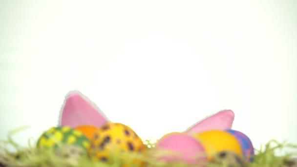 Veselé Velikonoce. Muž s králičíma ušima se dívá zpoza velikonočních vajíček