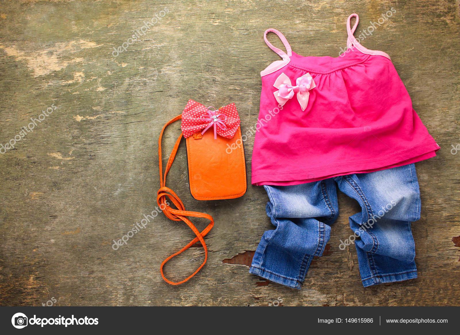 Zomer Kinderkleding.Zomer Kinderkleding T Shirt Jeans Handtas Bovenaanzicht