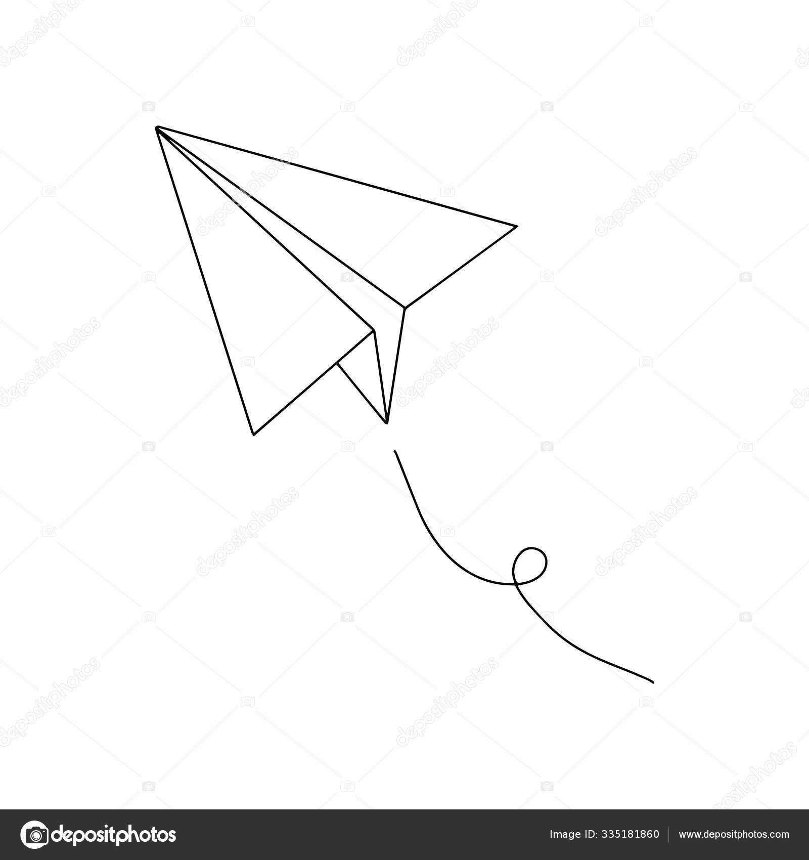 Sketch Illustration Simple Drawing Paper Airplane Handmade